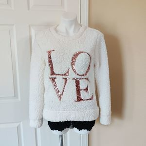 Miss Chievous Sherpa sequins LOVE sweater sz M